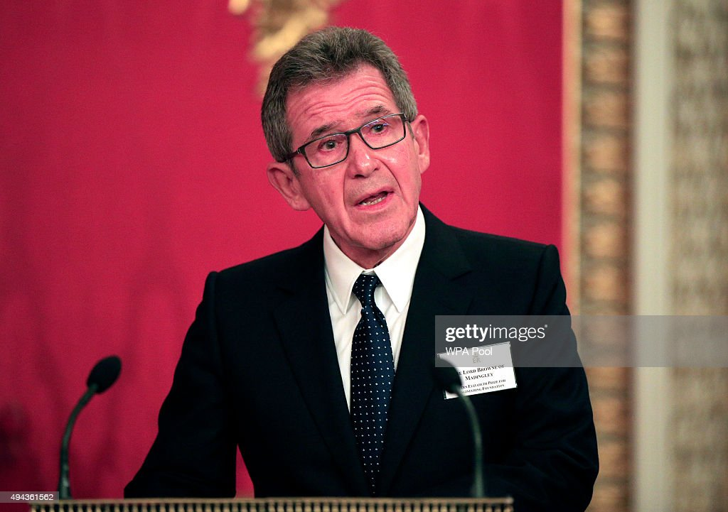 Lord Browne addresses guests during a reception for The Queen Elizabeth Prize for Engineering in the Throne Room at Buckingham Palace on October 26, 2015 in London, England. The Queen has presented a £1 million engineering prize to Dr Robert Langer at a reception at Buckingham Palace.