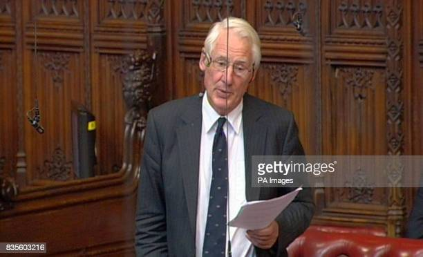 Lord Butler speaks in the House of Lords London where he said that the planned inquiry into the Iraq War serves the Government's 'political interest'...