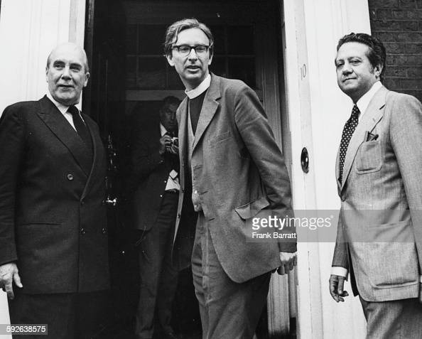 Lord Caradon former Minister of Foreign Affairs Father Adrian Hastings and Mario Soares the exiled leader of the Portuguese Socialist Party outside...