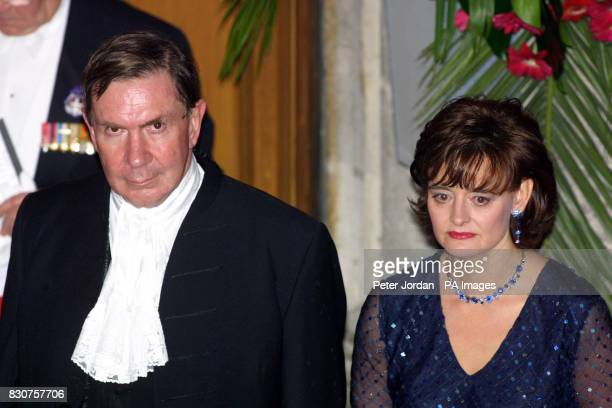 Lord Chancellor Lord Ervine and Cherie Blair the wife of Prime Minister Tony Blair arrive at London's Guild Hall for the Lord Mayor's Banquet