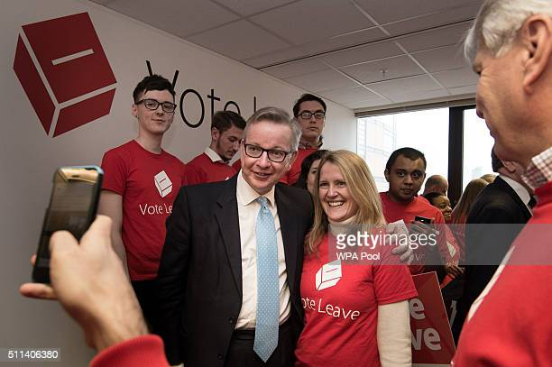 Lord Chancellor Michael Gove poses for a photograph with activists attending the launch of the Vote Leave campaign at the group's headquarters on...