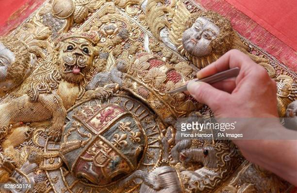 A Lord Chancellor's purse embroidered with the Royal Arms of King George II which is undergoing treatment by leading historic textile conservators...