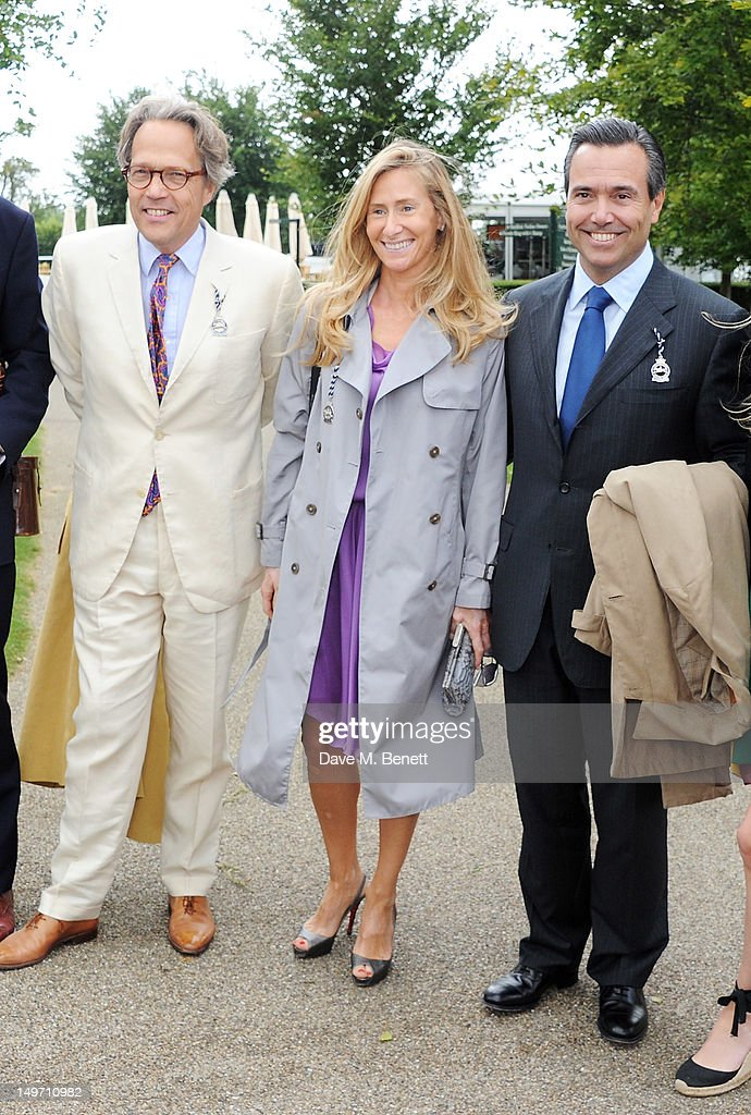 Lord Charles March (L) poses with Lloyds CEO Antonio Horta-Osorio (R) and wife Anan during Ladies Day at Glorious Goodwood held at Goodwood Racecourse on August 2, 2012 in Chichester, England.