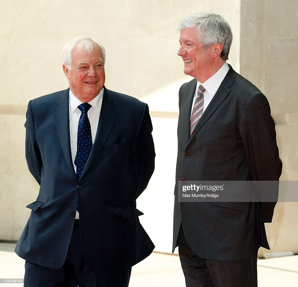 Lord <a gi-track='captionPersonalityLinkClicked' href=/galleries/search?phrase=Chris+Patten&family=editorial&specificpeople=85614 ng-click='$event.stopPropagation()'>Chris Patten</a> (Chairman of the BBC Trust) and Tony Hall (Director-General of the BBC) await the arrival of Queen Elizabeth II to open the new BBC Broadcasting House on June 7, 2013 in London, England.