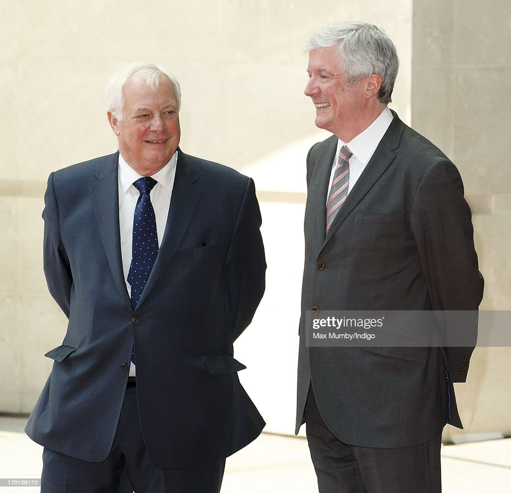 Lord Chris Patten (Chairman of the BBC Trust) and Tony Hall (Director-General of the BBC) await the arrival of Queen Elizabeth II to open the new BBC Broadcasting House on June 7, 2013 in London, England.