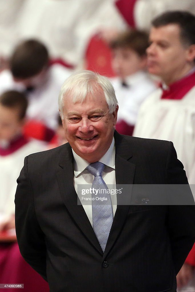 Lord Chris Patten attends a mass with newly appointed cardinals held by Pope Francis at St Peter's Basilica on February 23, 2014 in Vatican City, Vatican. Pope Francis presided over Mass in Saint PeterÕs Basilica on Sunday, one day after 19 bishops were added to the college of cardinals.