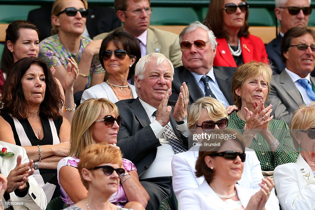 Lord Chris Pattern watches the action on centre court on day ten of the Wimbledon Lawn Tennis Championships at the All England Lawn Tennis and Croquet Club on July 4, 2013 in London, England.