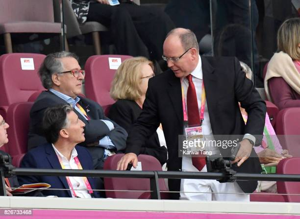 Lord Coe and Albert II Prince of Monaco attend day two of the IAAF World Athletics Championships at the London Stadium on August 5 2017 in London...