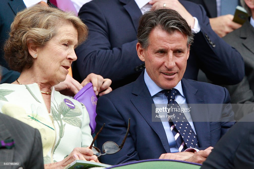 Lord Coe and Jane Henman (Mother of Tim Henman) are in conversation as they watch on from the stands in centre court as Julien Benneteau of France is in action during the Men's Singles second round match against Kei Nishikori of Japan on day four of the Wimbledon Lawn Tennis Championships at the All England Lawn Tennis and Croquet Club on June 30, 2016 in London, England.