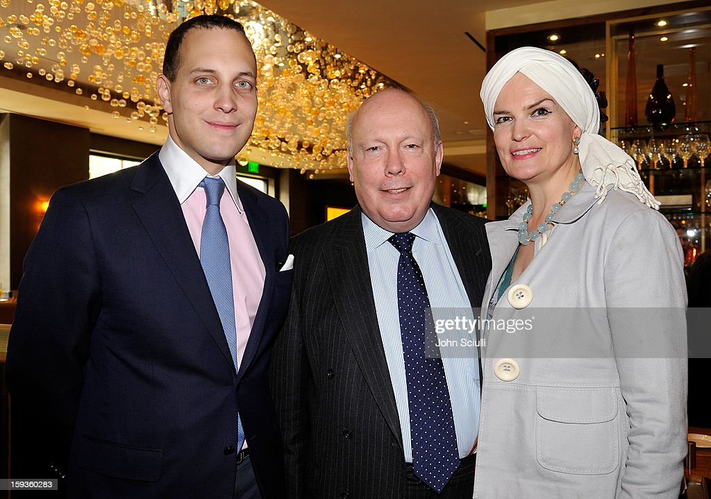 Lord Frederick Windsor, Julian Fellowes and Emma Joy Kitchener attend a Golden Globe lunch hosted by BritWeek chairman Bob Peirce honoring Julian Fellowes, Gareth Neame and Michelle Dockery at Four Seasons Hotel Los Angeles at Beverly Hills on January 12, 2013 in Beverly Hills, California.