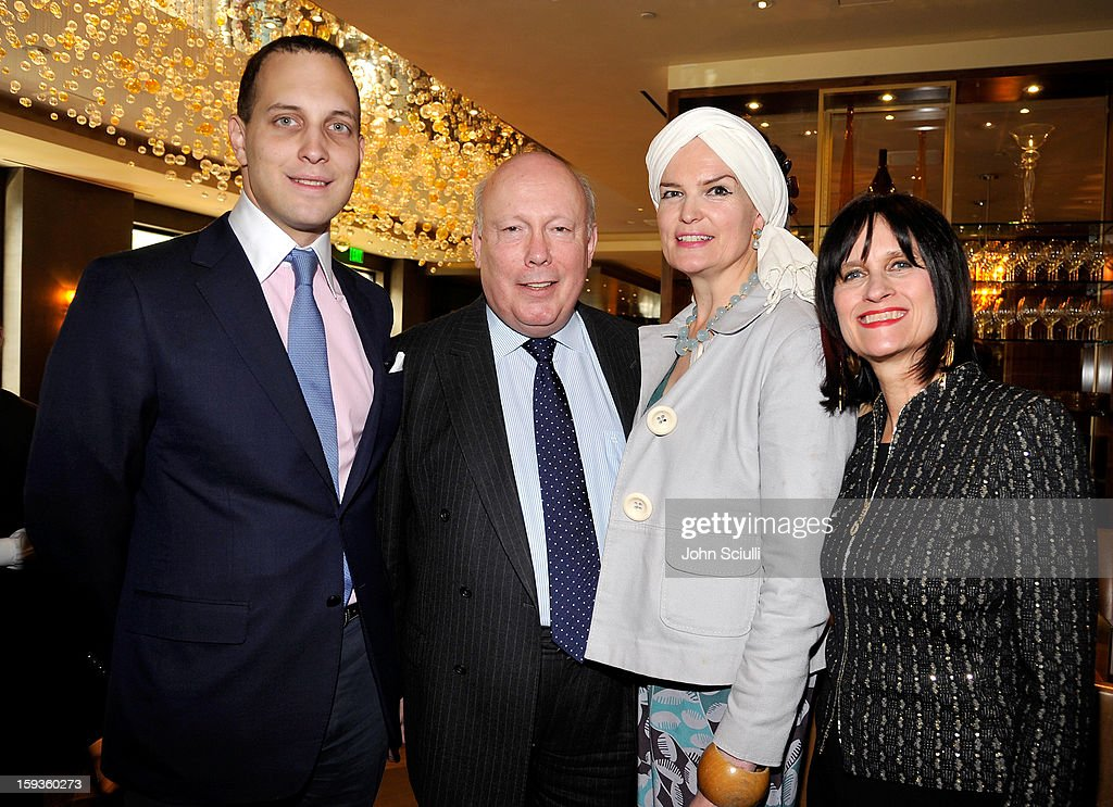 Lord Frederick Windsor, Julian Fellowes, Emma Joy Kitchener and Sharon Harroun Peirce attend a Golden Globe lunch hosted by BritWeek chairman Bob Peirce honoring Julian Fellowes, Gareth Neame and Michelle Dockery at Four Seasons Hotel Los Angeles at Beverly Hills on January 12, 2013 in Beverly Hills, California.