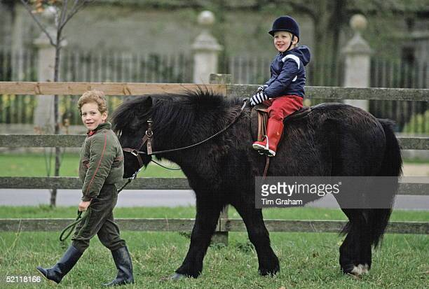 Lord Frederick Windsor Leads The Pony Lady Gabriella Is Riding In The Grounds Of Their Home In Nether Lypiath Manor