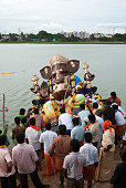 Lord ganesh immersion in muthannankulam tank, Coimbatore, Tamil Nadu, India