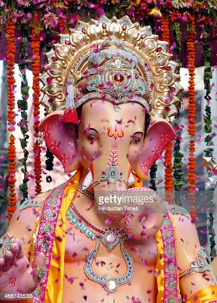 Lord Ganesha's idol during the procession before the installation at Laxmi Nagar on September 17 2015 in New Delhi India Hindu festival Ganesha...