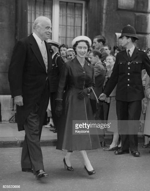 Lord Hastings Ismay escorts Princess Margaret from the Queen's Chapel in St James' London after the wedding of his daughter Mary Finnis to Major...