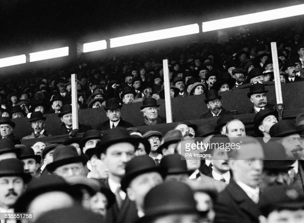 Lord Howe Prime Minister H H Asquith King George V and Arthur Hartley watching the match