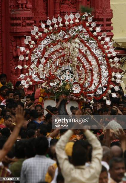Lord Jagannath comes out from the temple in the grand procession to ride his chariot on the occassion of Shree Jagannath temple's annual chariot...