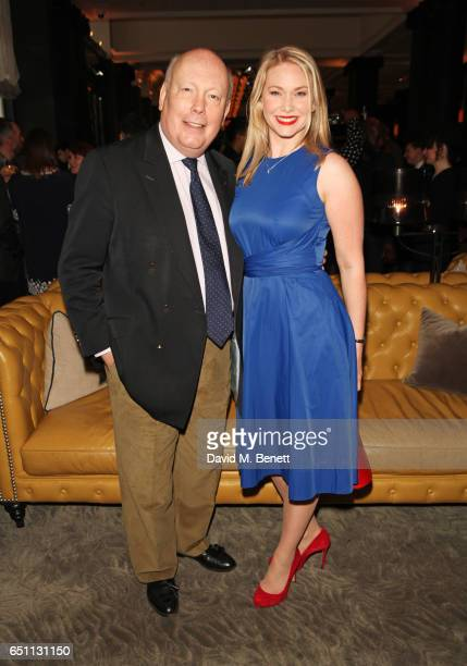 Lord Julian Fellowes and Emma Williams attend the Olivier Awards 2017 nominees celebration at Rosewood London on March 10 2017 in London England