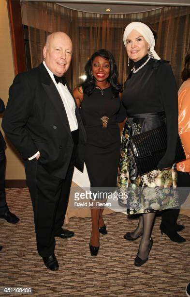 Lord Julian Fellowes Patti Boulaye and Emma Joy Kitchener attend the launch of Patti Boulaye's autobiography 'The Faith Of A Child' at The Athenaeum...