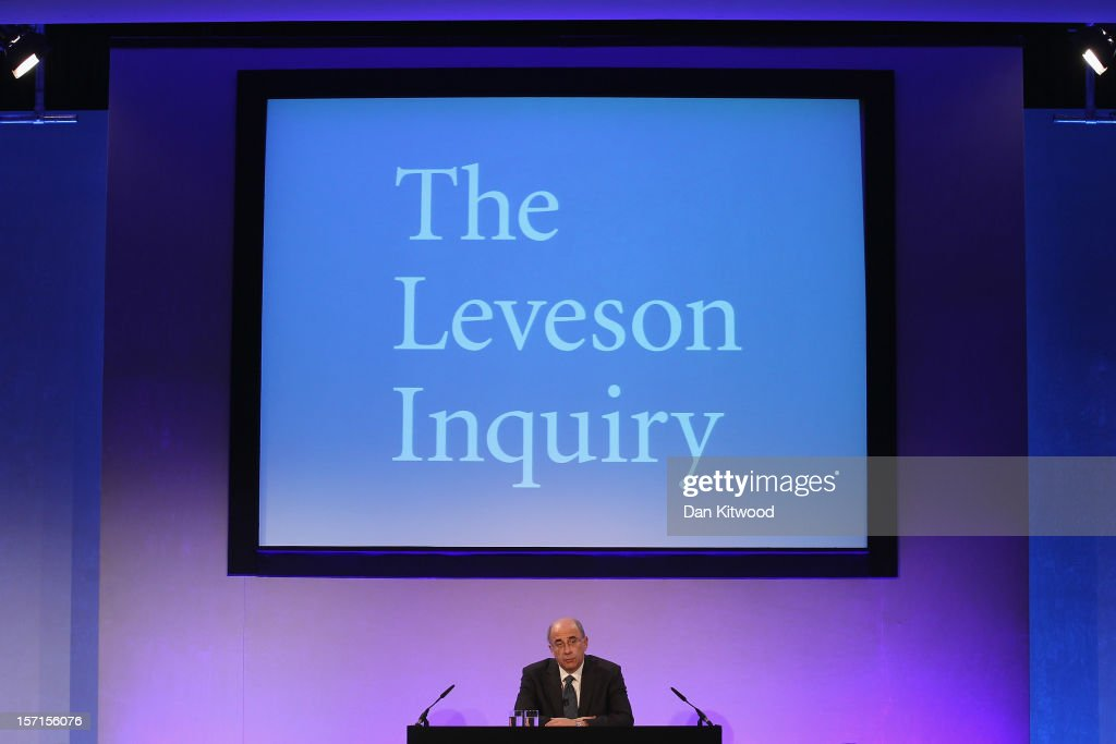 Lord Justice Leveson delivers his findings into the Leveson Report at the Queen Elizabeth II centre on November 29 2012 in London England The...