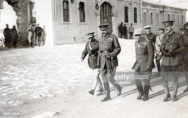 Lord Kitchener and his entourage passing through the courtyard of SeddulBahr during World War One near Gallipoli Turkey circa 1915