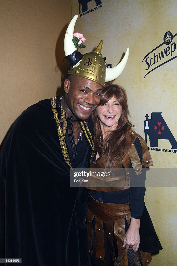 Lord Kossity (L) and Sarah Guetta attend the 'Tournoi des 16 Royaumes' Costume Ball hosted by Les Ambassadeurs 12th Edition at the Chateau de Vincennes on October 12, 2013 in Paris, France.