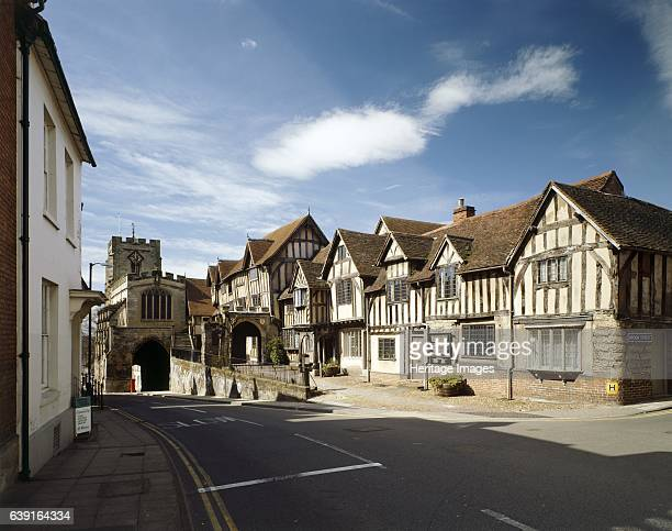 Lord Leycester Hospital High Street Warwick Warwickshire c19902010 Exterior view of the timber framed buildings from the North East looking towards...