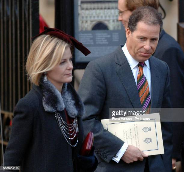 Lord Linley and wife Serena leave Westminster Abbey London after a service of celebration to mark the diamond wedding anniversary of Queen Elizabeth...