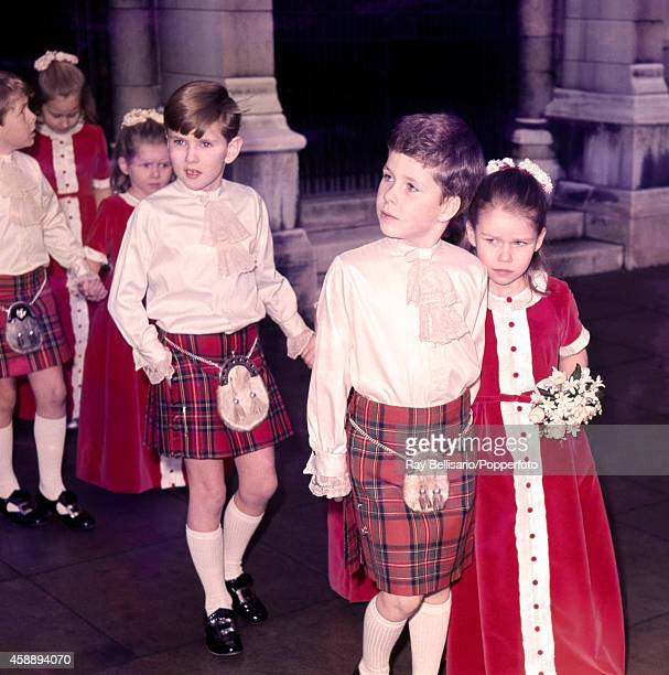 Lord Linley as a pageboy with his sister Lady Sarah Armstrong Jones as a bridesmaid children of Princess Margaret and Anthony ArmstrongJones during a...
