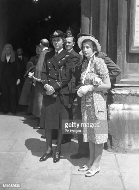 Lord Louis Mountbatten's two daughters watch their father receive the Freedom of the City of London at the Guildhall in London