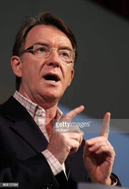 Lord Mandelson addresses the audience at the Fabian Society's New Year Conference held in Imperial College on January 16 2010 in London England The...