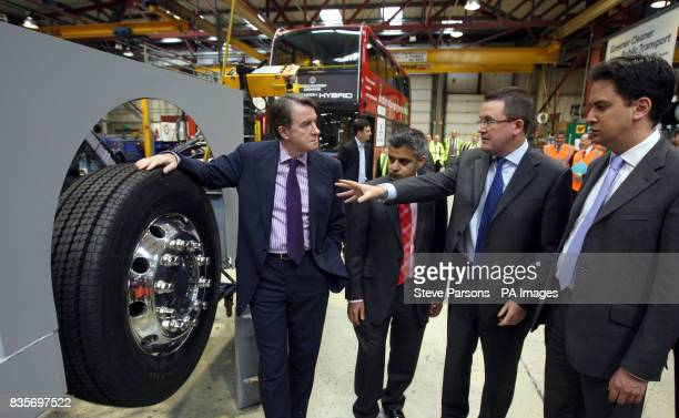 Lord Mandelson Ed Miliband and Sadiq Khan visit the Alexander Dennis Limited factory in Guildford Surrey