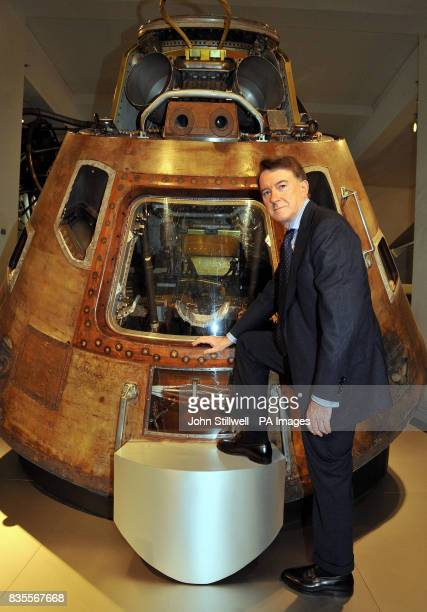 Lord Mandelson in front of the Apollo 10 Command Module from the 1969 space mission during a photocall to celebrate the 100th anniversary of the...