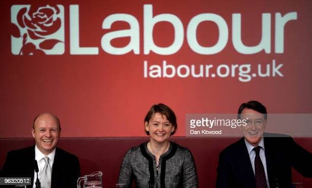 Lord Mandelson Secretary of State for Work and Pensions Yvette Cooper and Chief Secretary to the treasury Liam Byrne speak during a press conference...