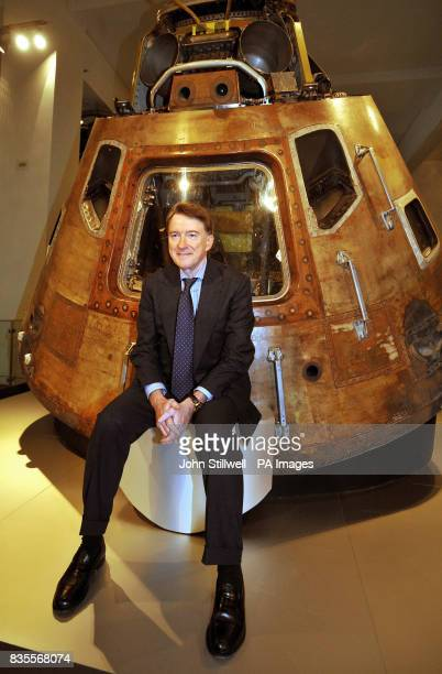 Lord Mandelson sits in front of the Apollo 10 Command Module from the 1969 space mission during a photocall to celebrate the 100th anniversary of the...
