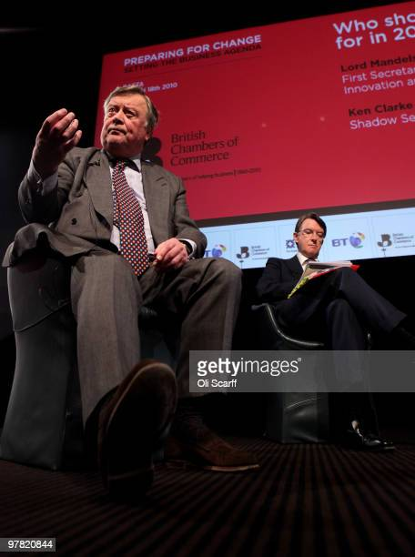Lord Mandelson the Business Secretary and Kenneth Clarke MP the Shadow Business Secretary speak at the British Chamber of Commerce Annual Conference...