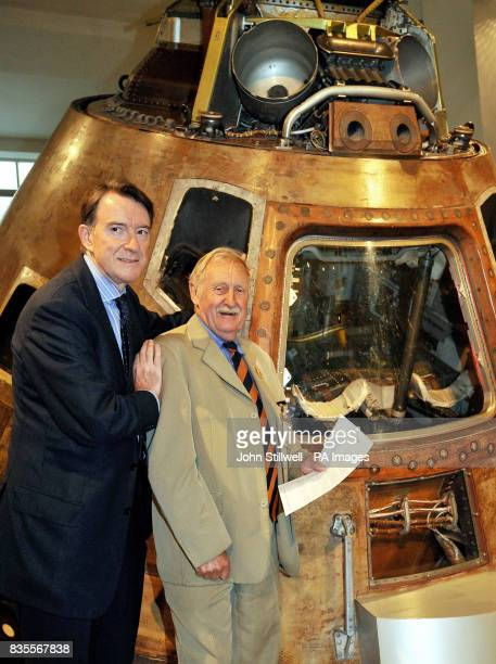 Lord Mandelson with Inventor Trevor Baylis in front of the Apollo 10 Command Module from the 1969 space mission during a photocall to celebrate the...
