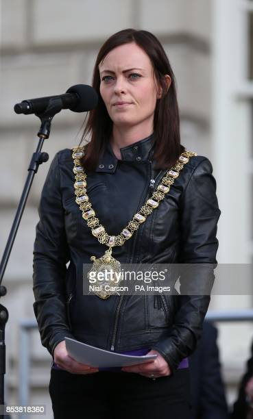 Lord Mayor Concillor Nichola Mallon addresses the crowd as hundreds gather at Belfast City Hall tonight to pray for peace in the middle East and an...