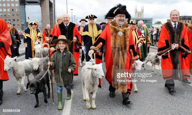 Lord Mayor of London Alderman Ian Luder is accompanied by shepherdess Henrietta Cropper her dog Try various Aldermen and a herd of Herdwick sheep...