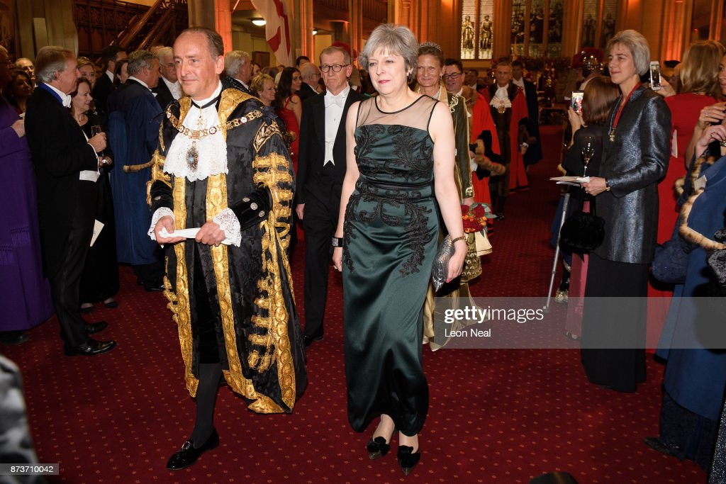 Lord Mayor of London Charles Bowman and Britain's Prime Minister Theresa May attend the annual Lord Mayor's banquet on November 13, 2017 in London, England. The Prime Minister will address dignitaries and special guests after a formal meal.