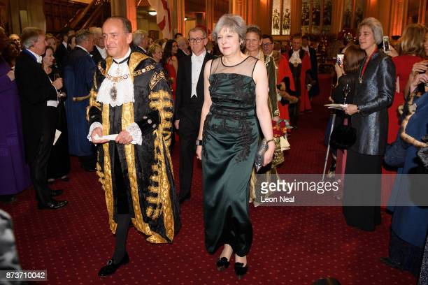 Lord Mayor of London Charles Bowman and Britain's Prime Minister Theresa May attend the annual Lord Mayor's banquet on November 13 2017 in London...