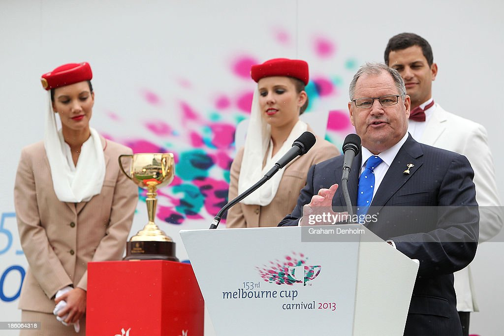 Lord Mayor of Melbourne Robert Doyle talks at the 2013 Melbourne Cup Carnival Launch at Flemington Racecourse on October 28, 2013 in Melbourne, Australia.