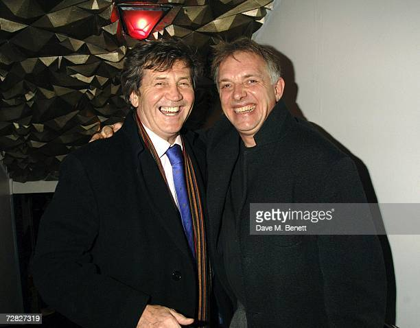 Lord Melvyn Bragg and Rik Mayall attend the after party following the opening night of 'The New Statesman' at Trafalgar Studios 1 on December 14 2006...
