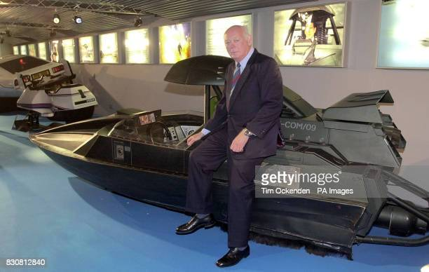 Lord Montagu of Beaulieu sits on the original 'Q Road Boat' from the 1999 James Bond film 'The World Is Not Enough' at the Beaulieu National Motor...