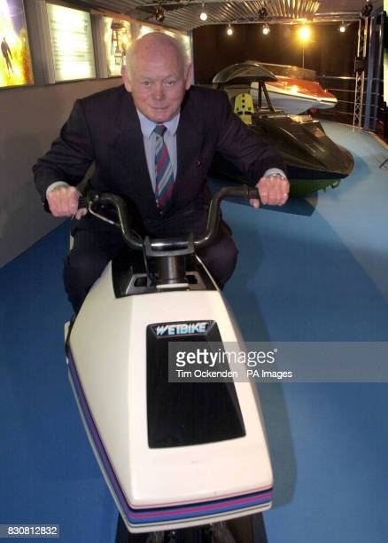 Lord Montagu of Beaulieu sits on the original WetBike from the 1977 James Bond film 'The Spy Who Loved Me' at the Beaulieu National Motor Museum...