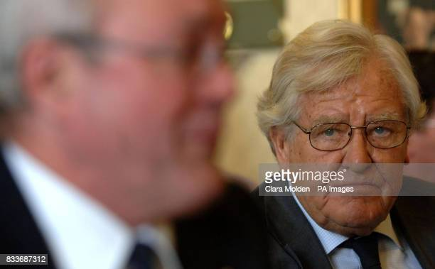 Lord Morris of Manchester the architect of the Inquiry listens to Peter Mossman giving evidence at an independent inquiry into the use of...