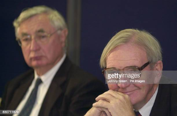 Lord Nolan takes questions as Sir Swinton Thomas looks on at a press conference in central London to launch the final report of the Nolan review on...