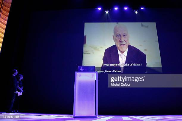 Lord Norman Foster on screen at the Scopus Awards 2012 at Theatre des ChampsElysees on March 27 2012 in Paris France