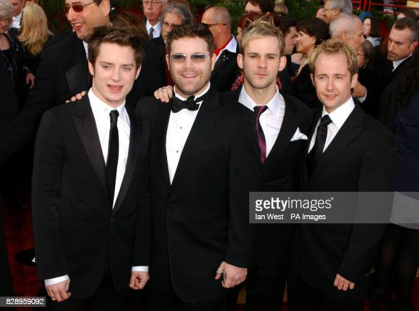 Lord of Rings actors from left to right Elijah Wood Sean Astin Dominic Monaghan and Billy Boyd arrive at the Kodak Theatre in Los Angeles for the...