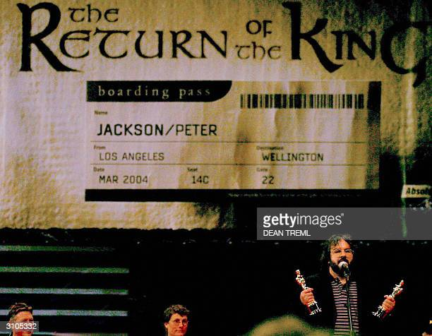 Lord of The Rings director Peter Jackson with his best director and best screenplay Oscars talks to the 3000 assembled fans that turned out to see...